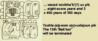 The Mayan glyphs narrating the end of the Mayan calendar cycle: 13th Bak'tun, our 2012 year.